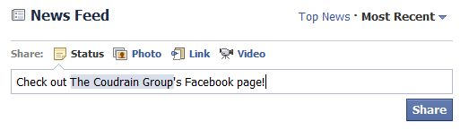 how to link to facebook page to suggest to friends