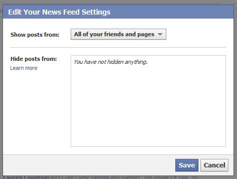 hide friend posts facebook news feed