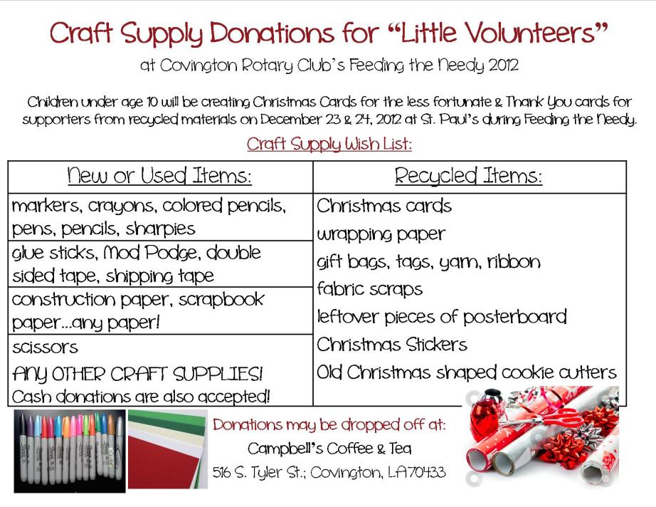 Causechatter the coudrain group little volunteers for Where to donate craft supplies
